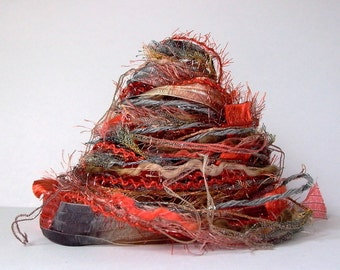 volcan fiber effects™  12yds specialty art yarn bundle  . embellishment fibres . burnt orange gray beige tan rust . yarn sampler pack