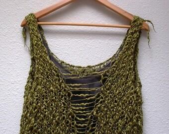 jungle gypsy. handknit sweater vest tank bodice camisole . organic cotton . bohemian apocalypse sustainable knit fashion . moss olive green