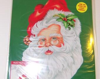 1995 PLAID Christmas Iron-On Transfer OL' St. Nick Chris Gleaton Design