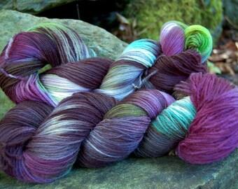 Handpainted sock yarn, fingerling yarn, Superwash Merino Nylon, 100 grams-Fey