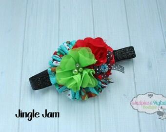 Holiday Baby headband { Jingle Jam } red, black, lime, aqua Santa vintage Snowflakes Christmas Headband onderland photography prop