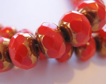 CLOSING SALE 50% OFF Czech Glass Bead Caroline Red Picasso 9x6mm Faceted Rondelle - 6 pieces    (St500-12)