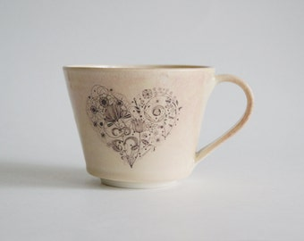 Handmade Ceramic Mug - Large Mug with Heart Decal - Yellow Ceramic Mug - Large Porcelain Cup - Lovers Mug