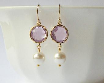 Lilac Purple Pearl Earrings, Bridesmaid Jewelry Gift