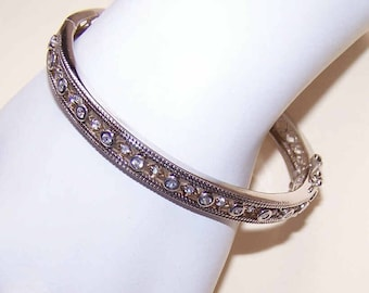 Vintage, Sterling Silver, Sterling Bangle, Silver Bangle, Cubic Zirconia, CZ, Silver CZ Bangle Bracelet, Hinged Bracelet, Hinged Bangle