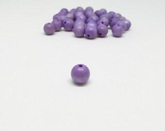 40 small purple wood beads 10mm