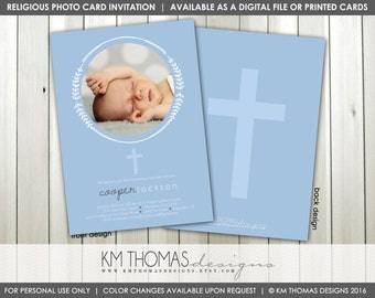 Boy Christening Photo Invitation : Printable Baptism Photo Invitation - Baby Dedication Photo Invitation - Blue - Leaves - R101