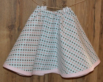 Toddler Reversible Circle Skirt Pastel Pink and Blue Floral Polka Dot Pattern Like a Poodle Skirt for Twirling and Dancing Little Girls