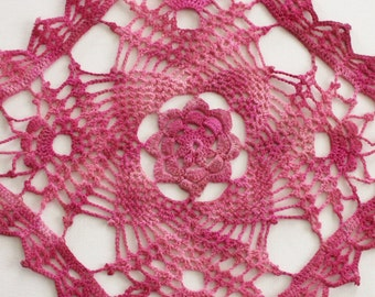 "Crochet Doily - Hand Dyed Upcycled Home Table Top Decor - Pink Raspberry Light Bubblegum Dark Rose Floral Valentine Breast Cancer 12"" x 12"""