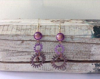 Purple Steampunk Earrings