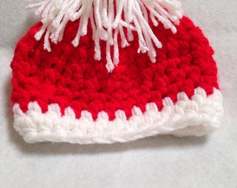 Ready to ship red and white Hat, childs Beanie, hat with white pom pom  medium size childs hat