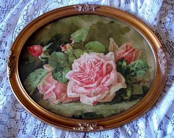 Pink Cabbage Roses Paul de Longpre Print Vintage Frame Half Yard Long