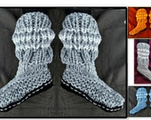 KNITTING Pattern, Flat Knit Slippers, num 924- KNITTED Aran Boot Slippers, 2 yrs to adult XL,  knitting for beginners, ok to sell them
