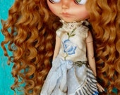 Blythe doll OOAK outfit *Morning breeze* embroidered vintage style dress