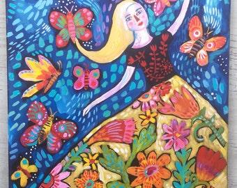 Folk Art Flower Girl Painting on Reclaimed Wood