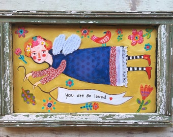 Framed Folk Art Angel Painting