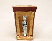 Bastet Temple - Fine Ceramic Folk Art - Handmade Pottery - Egyptian Goddess Bast