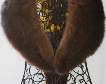 Vintage Fur Wrap- Stole- Chocolate Brown Wrap- Soft Warm Fur- Winter Jacket Fur