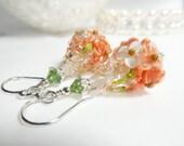 Orange Earrings, Floral Earrings, Lampwork Glass Earrings, Orange Floral Earrings, Peach,  Lampwork Earrings Glass