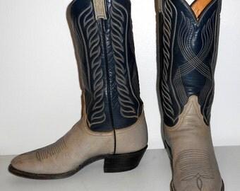 Mens 8.5 B Tony Lama Cowboy Boots Narrow Blue Grey Vintage Western Shoes Country