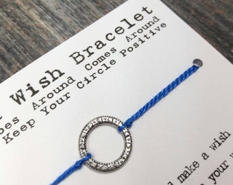 Karma Wish Bracelet - Available In Over 100 Different Colors!!!  (Ornate Circle Charm - Silver)