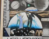 Original UFO Collage art on recycled Book Cover