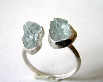 Double raw aquamarine sterling silver ring