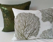 Olive green coral fan embroidered on white pillow. coastal  nautical pillow cover. Beach pillow  Custom made 16 x20