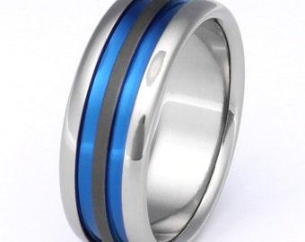 Titanium Wedding Band - Blue Ring - Man's Wedding Ring - Custom Ring - sa28