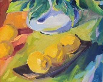 Leaves and Lemons a still life painting by South Carolina artist Linda Hunt...impressionism, impressionistic, still life...