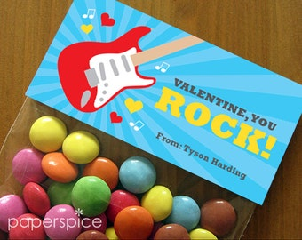 Personalized Valentine's Day Treat Bag Toppers – DIY Printable – Guitar Red (Digital File)