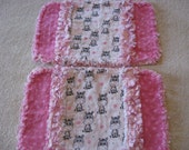 2 New Zebra Baby Girl Burp Cloths with Minky backing