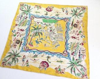 Vintage Florida silk handkerchief scarf hankie flamingos beach palms bathing beauties souvenir Floridiana 1940s kitsch made in Japan