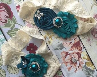 Teal Wedding garter , lace wedding garter , bridal garter set , vintage lace garter , toss garter , teal garter