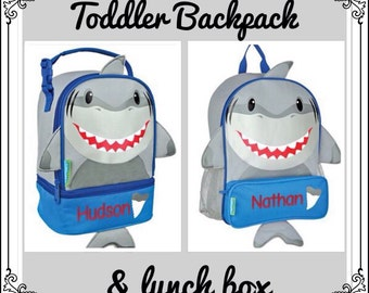Toddler Backpack and Lunchbox / personalized backpack / personalized lunchbox / STEPHEN JOSEPH backpack / SHARK