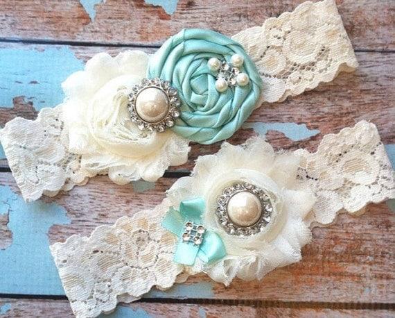 Pinterest favorite / wedding garter / bridal  garter/  lace garter / toss garter /AQUA / Something BLue wedding garter / vintage inspired la