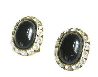 Vintage Black Lucite Cabochon and Clear Ice Rhinestones Earrings