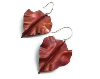 Red Copper Curly Leaf Earrings - Heat Treated Patina Copper Earrings - Nature Leaf Earrings -LEAF-004