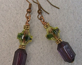 Vintage Furnace Glass Dangle Drop Lime Green Purple Faceted Bead Earrings, Vintage purple Lucite Beads, Copper Ear wires