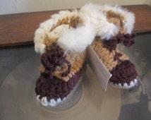 Baby Uggs Tan & Brown Faux Fur  Trimmed Hi Top Winter Baby Booties 0- 6 months