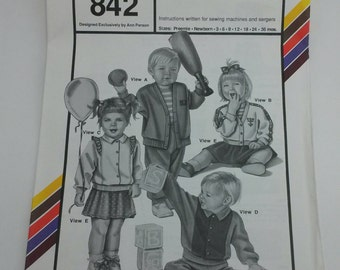 Stretch & Sew Pattern 842 Infant dolmans sweaters and cardigans, skirt