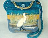 Felted Purse,Felted Tote, Egret Art, Bird Art, Hand Made Felted Purse, Needle Felt Bird