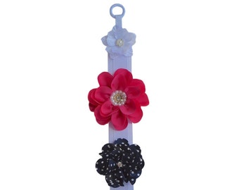 Hair Accessories Wall Hanging Hair Clip and Barrette Holder with Jeweled Pearl Flower