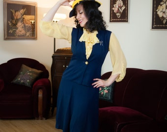 Vintage 1940s Set - Two Piece Navy Blue Gabardine Skirt with Vest - Finishing School