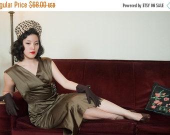 50% OFF SALE - Vintage 1950s Dress - Gleam Olive Bronze Satin Cocktail Dress with Shoulder Drapes