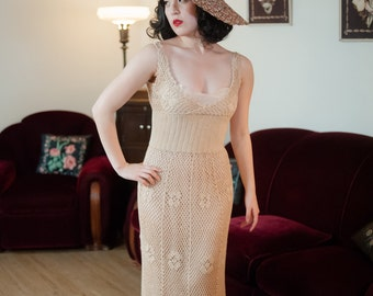 Vintage 1970s Dress - Incredible 30s Inspired Sheer Maxi Length 70s Crocheted Lace Sundress