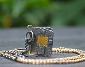 RESERVED FOR COLORBAZAAR Tiny Book Pendant with Window and Pure Gold