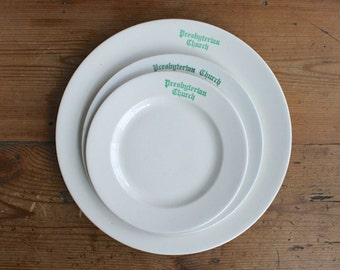Vintage Church China Plates, Presbyterian Church Plates, Harker Pottery, Church Suppers