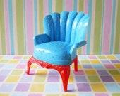 Vintage Dollhouse Miniatures Furniture Renwal Blue Living Room Chair Armchair