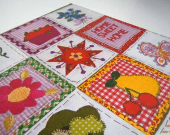 Vintage 1970s Any Occasion Wrapping Paper Hippie Embroidered Quilt Mushrooms Butterflies Fruits Flowers Gift Wrap